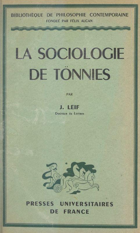 La sociologie de Tönnies