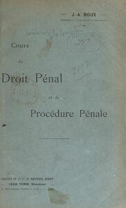 Cours de droit pénal et de procédure pénale