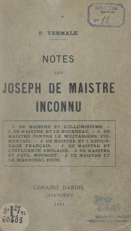 Notes sur Joseph de Maistre inconnu