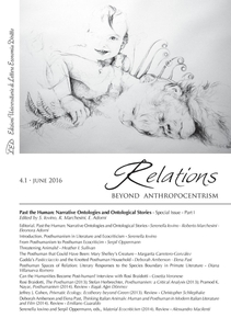 Relations. Beyond Anthropocentrism. Vol. 4, No. 1 (2016). Past the Human: Narrative Ontologies and Ontological Stories: Part I