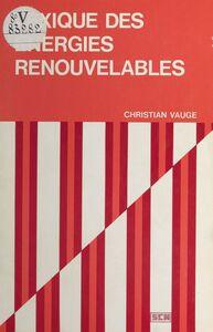 Lexique des énergies renouvelables