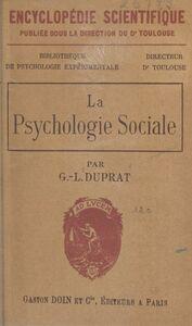 La psychologie sociale Sa nature et ses principales lois