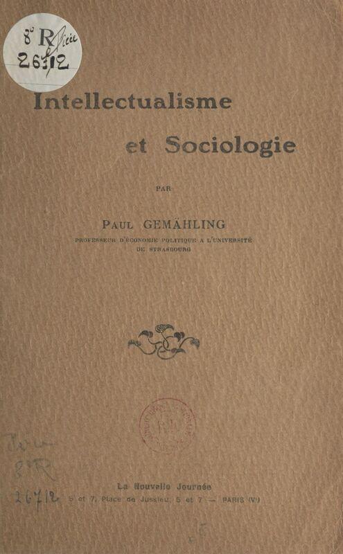 Intellectualisme et sociologie