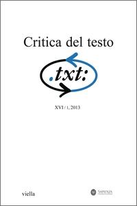 Critica del testo (2013) Vol. 16/1