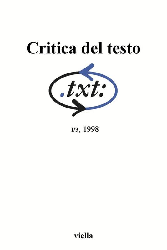 Critica del testo (1998) Vol. 1/3