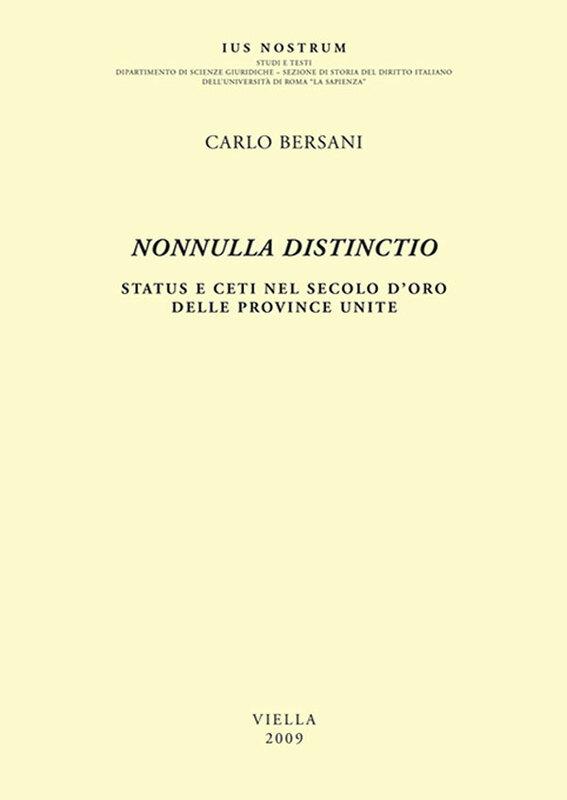Nonnulla distinctio Status e ceti nel secolo d'oro delle Province Unite