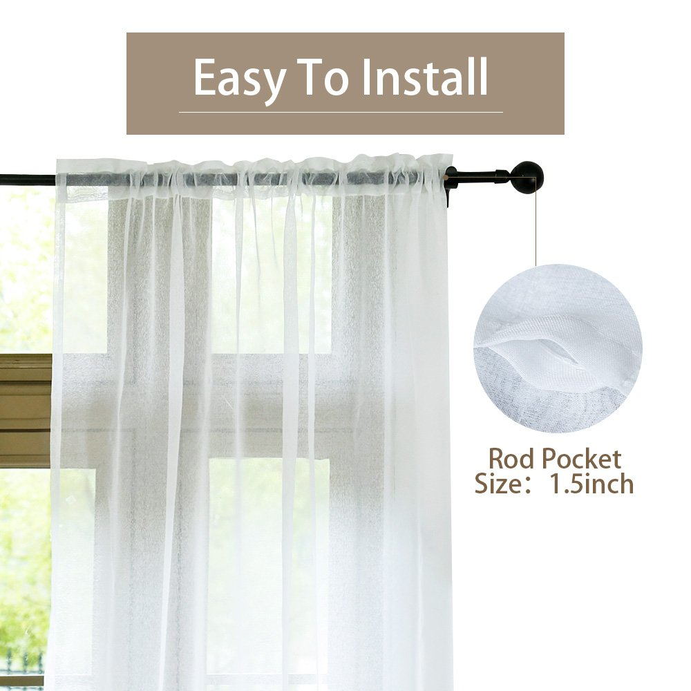 Anjee Sheer White Curtains, 96 Inches Long Voile Curtain