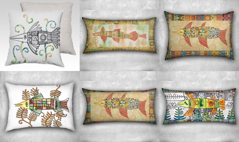 Pillows with fish preview