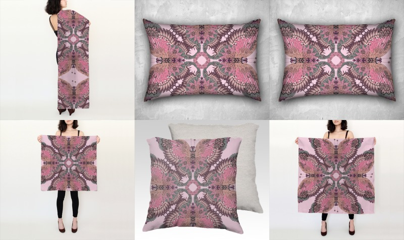 Pink wings silk scarf and cushioncollection preview