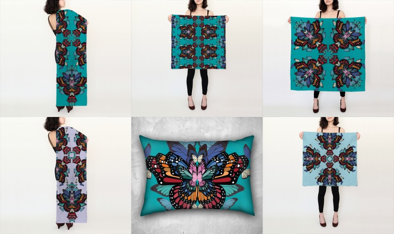 Rainbow butterflies silk scarf and cushion collection preview