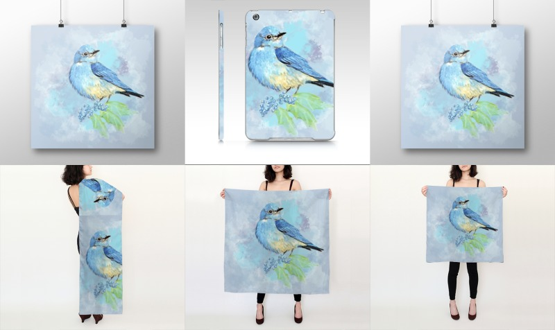 Watercolor Bluebird Blue Bird Nature Art preview