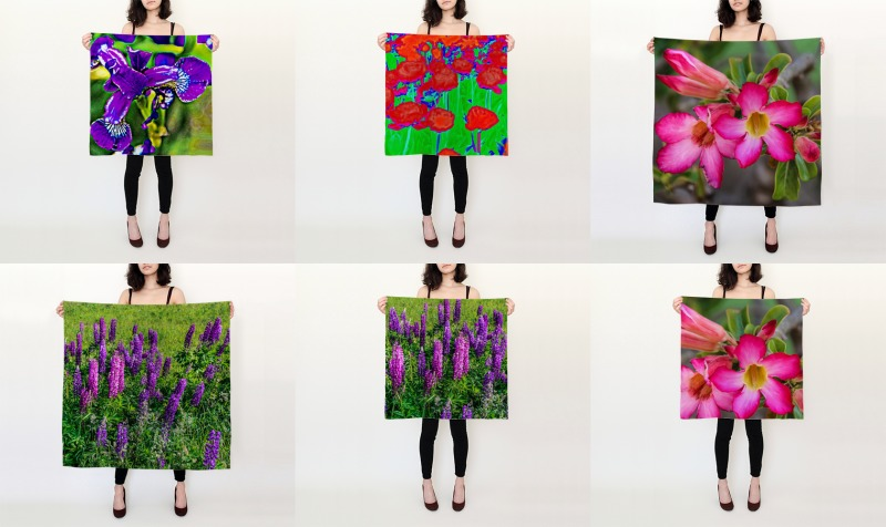 Floral Patterns Silk Scarves preview
