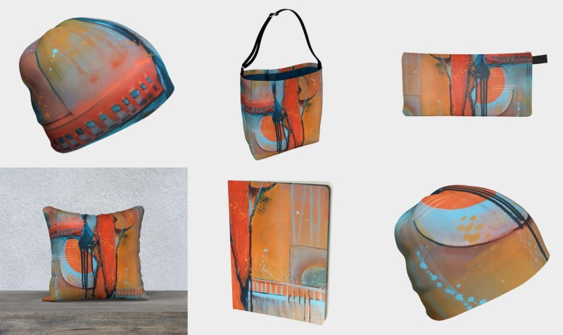 Aperçu de Orange and Blue Abstract Art Products