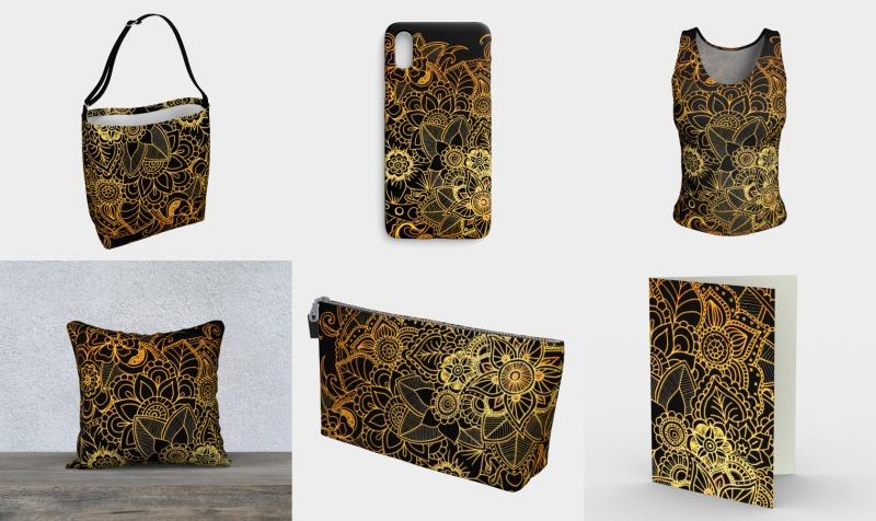 Floral Doodle Gold G523 preview
