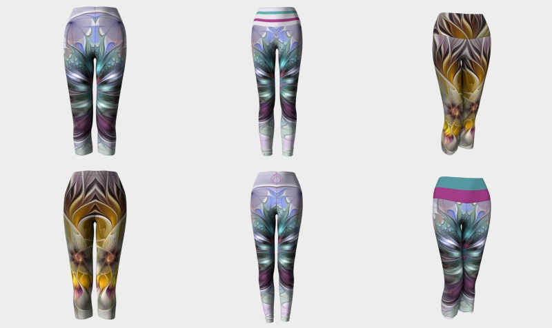 Floral Fantasy Colorful Capris and Leggings with Compatible Tops preview
