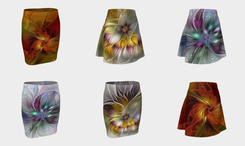 Floral Fantasy Colorful Skirts With Compatible Tops preview