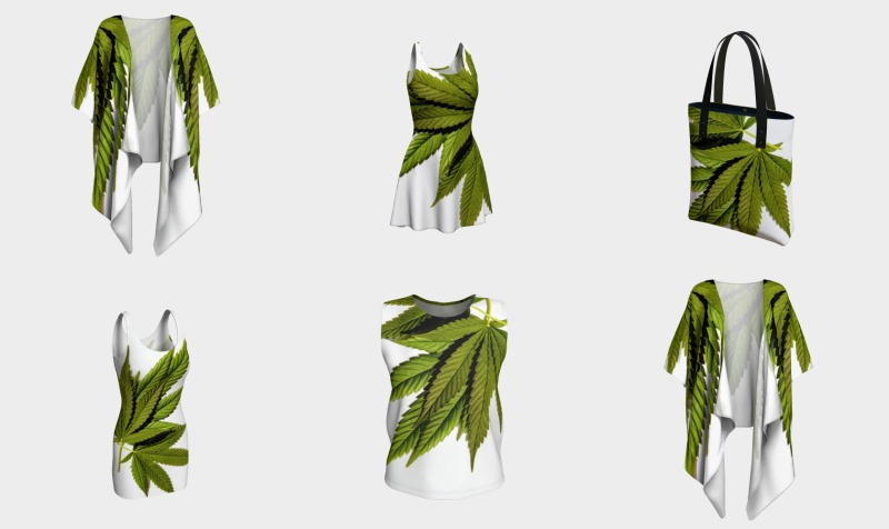 Aperçu de Marijuana Leaves Olive and Black on White