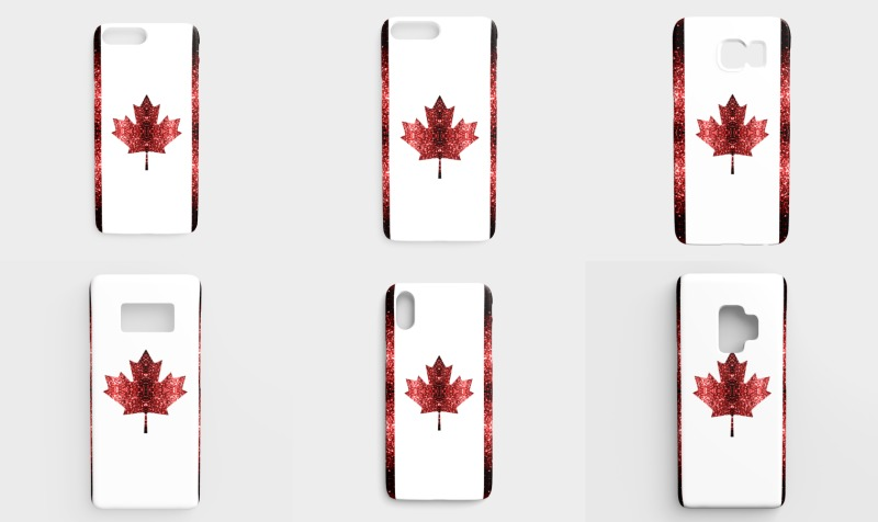 Canada flag red sparkles phone cases preview