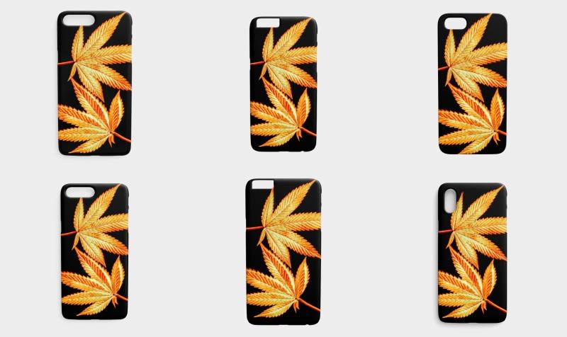 Aperçu de Phone Covers: Marijuana Leaves Black and Gold