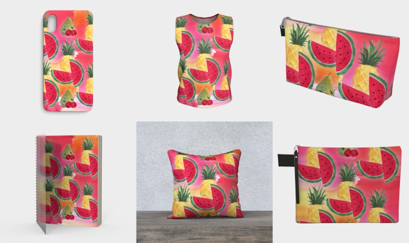 Aperçu de Watercolor Fruit Watermelon Pineapple Pear Cherry