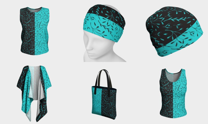 Turquoise Black Two-tone Botanical Floral preview