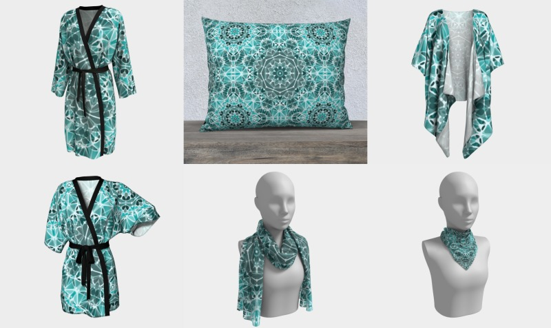 Turquoise and Gray Kaleidoscope preview