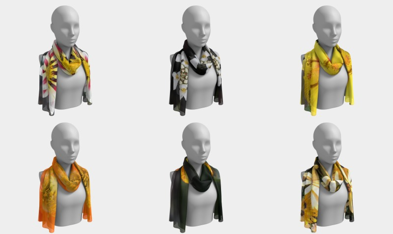 Floral Long Scarves  - Orange - Yellow - White  preview