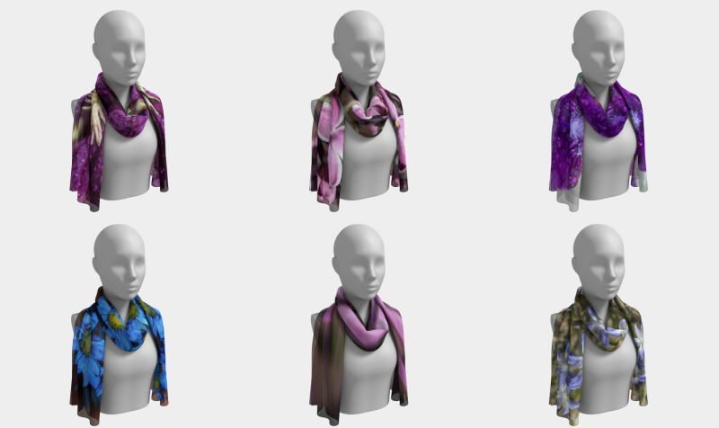 Floral Long Scarves  - Red - Purple - Pink - Blue  preview