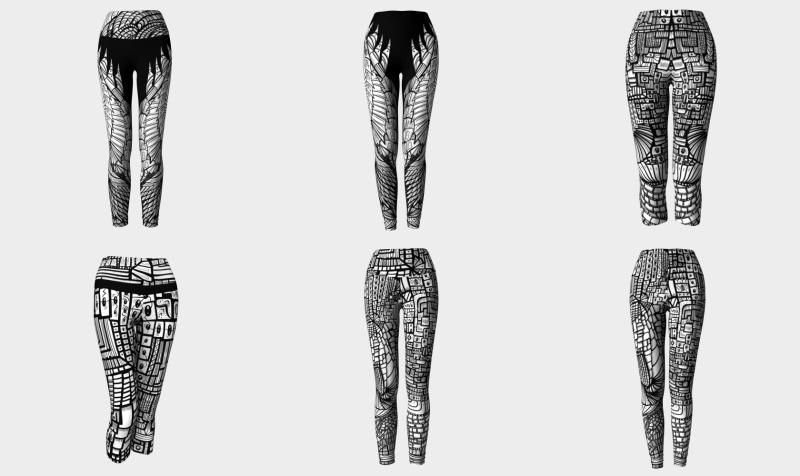 Abstract Black 'n' White Leggings & Capris preview