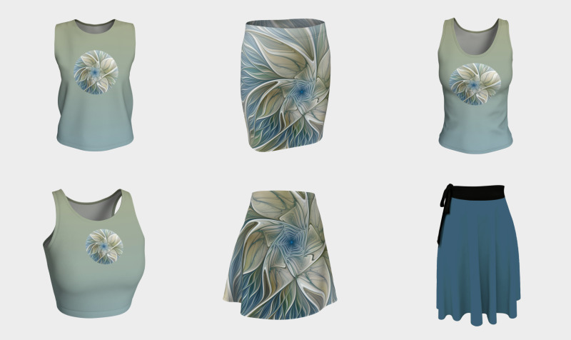 Floral With Blue Skirts And Compatible Tops preview