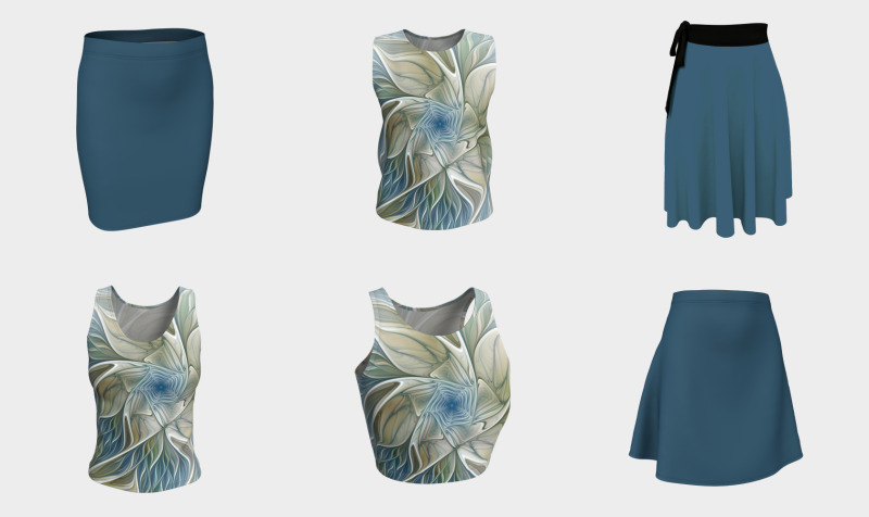 Floral With Blue Tops And Compatible Skirts + Leggings preview