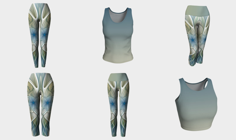 Floral With Blue Capris, Leggings And Compatible Tops preview