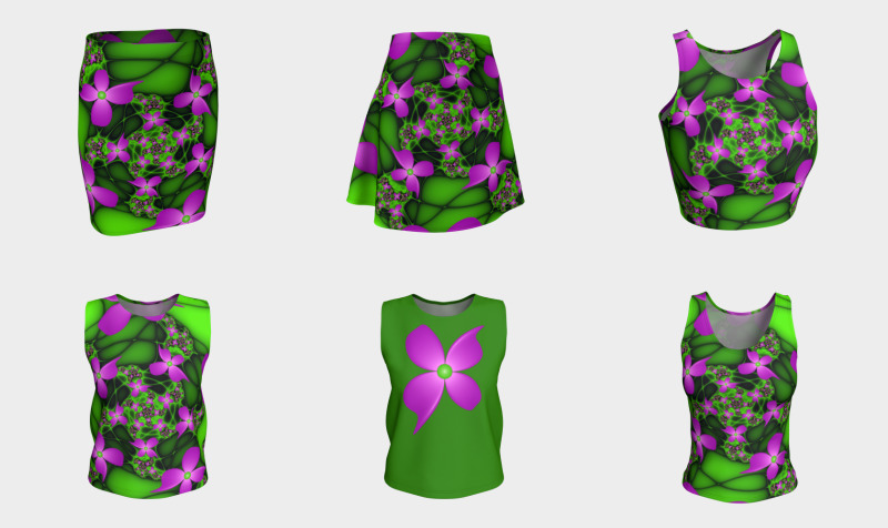 Modern Abstract Neon Pink Green Fractal Flowers - Matching Tops, Skirts, Leggings, Capris preview