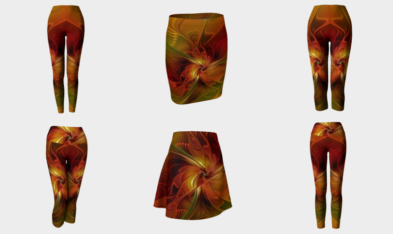 Abstract Flower With Warm Colors - Compatible Tops, Skirts, Leggings and Capris preview