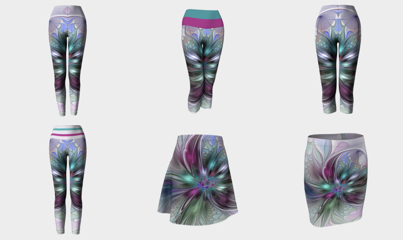 Colorful Fantasy Abstract Flower - Compatible Tops, Skirts, Leggings and Capris preview