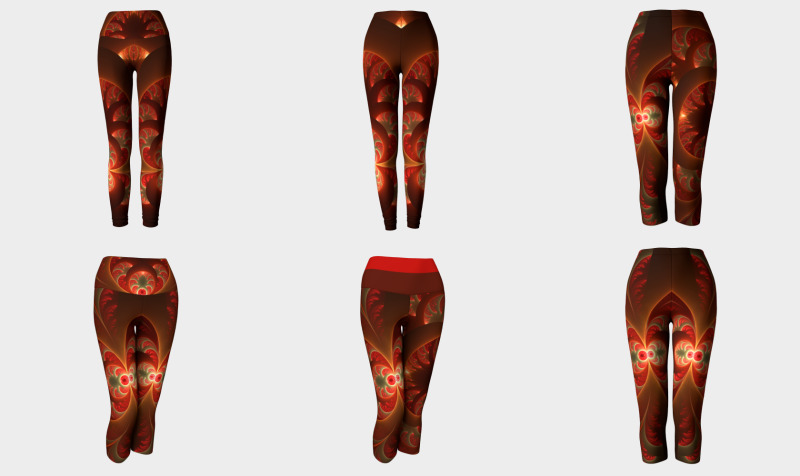 Luminous Abstract Modern Orange Red Fractal - Compatible Tops, Skirts, Leggings and Capris preview