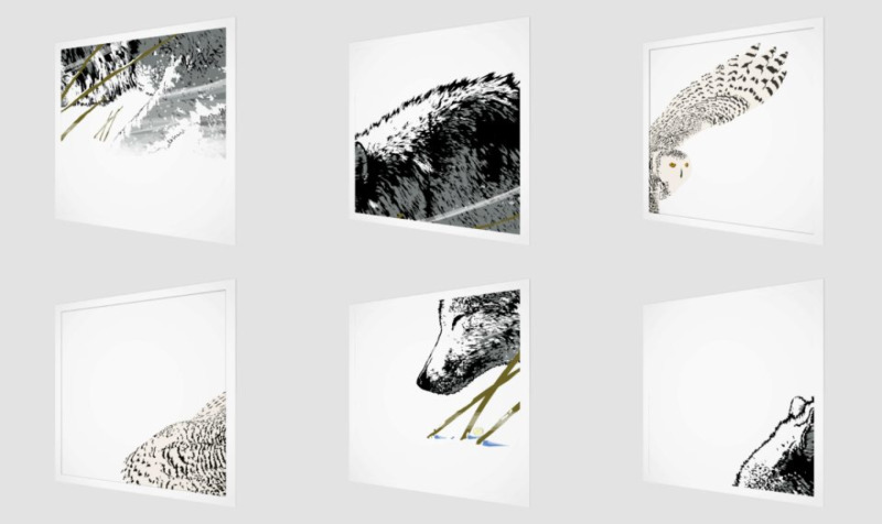 4 panel prints, the wolf, the snow owl preview