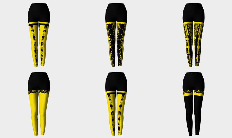 leggings noirs jaunes preview