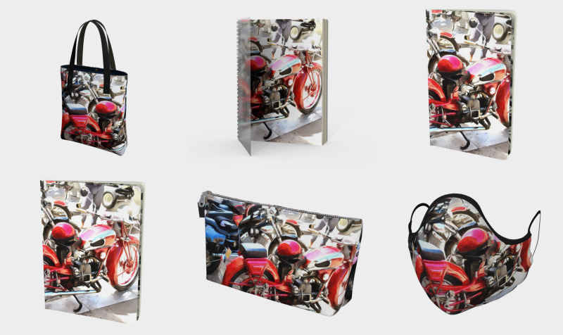 Colorful Motorcycles And Helmets preview