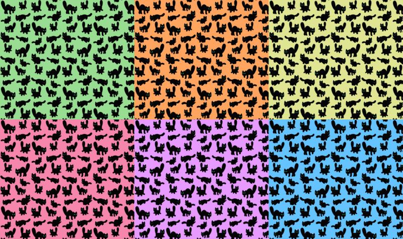 Fuzzy Black Kitties Fabric preview