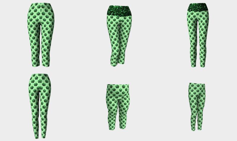 Dark Green glitter sparkles Shamrock Clover pattern preview