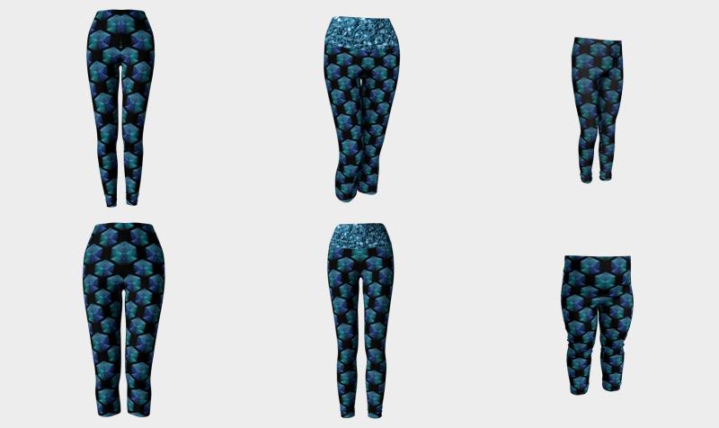 Aqua blue sparkles diamond geometric pattern on black preview