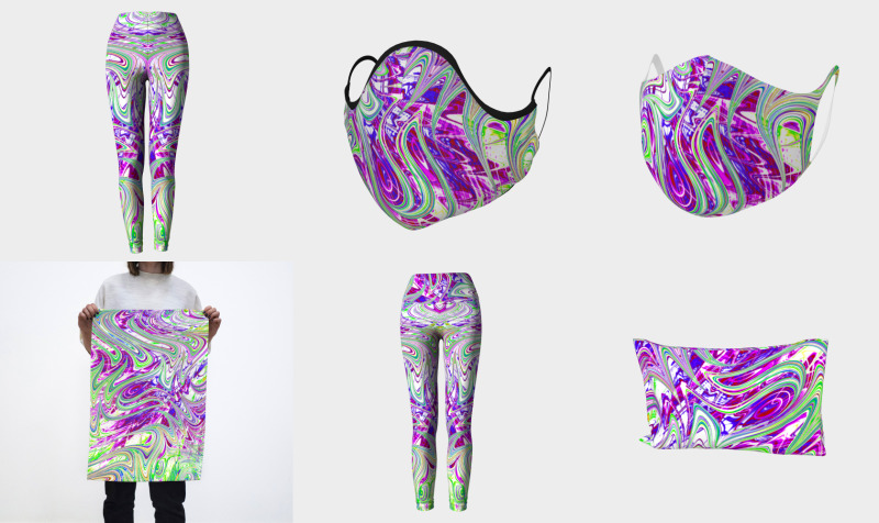 Groovy Trippy Vibrant Purple and Green Abstract preview