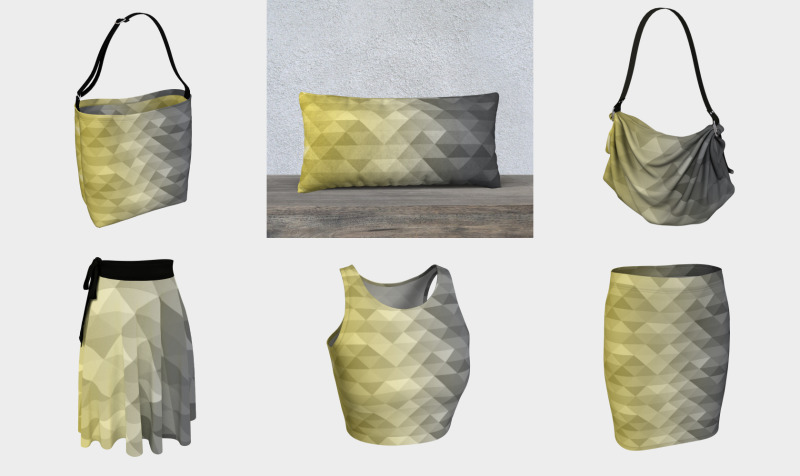 Yellow Ultimate Gray Gradient Geometric Triangle Squares Pattern preview