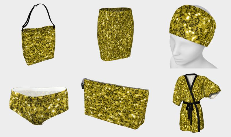 Dark illuminating yellow glitter sparkles preview