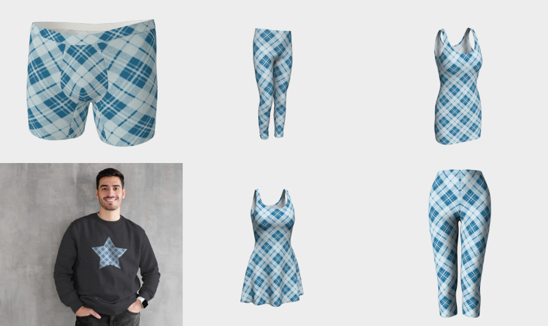 Light blue tartan plaid winter Christmas pattern preview