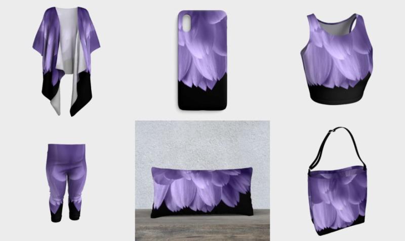 Ultra violet purple flower petals black preview
