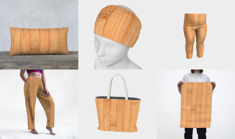 Cool light brown bamboo wood print preview
