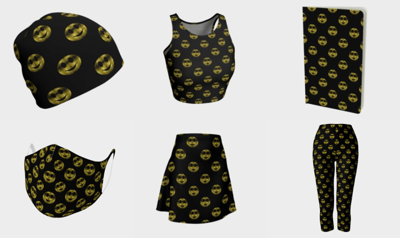 Sparkly Smiley Yellow Gold sparkles pattern Black preview