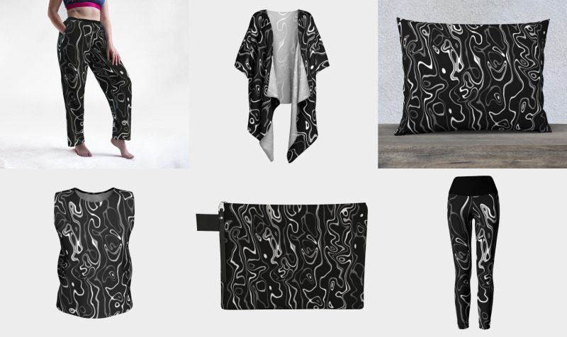 Black and white damascus abstract pattern preview